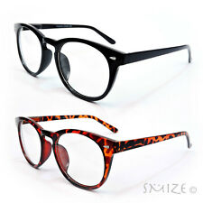 Clear Lens Glasses Large Round Frame Nerd Geek Retro Vintage Style New