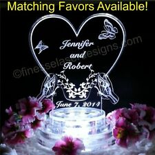 Butterfly Heart Shaped Lighted Wedding Cake Topper Acrylic Top Custom Engraved
