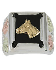 12K BLACK HILLS GOLD ON .925 STERLING SILVER 14X12MM ONYX MENS HORSE RING