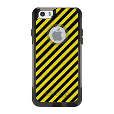 OtterBox Commuter for iPhone 5S SE 6 6S 7 Plus Black Yellow Diagonal Stripes