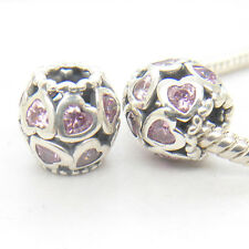 Genuine Silver Love Heart Ball w/ Pink CZs charm Christmas gift