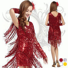 Fashion New Womens SExy Slim Tasseled Sequined Latin Salsa Dancing DRess Costume