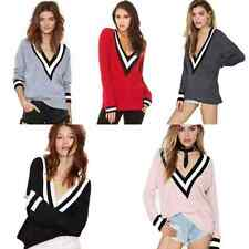 Sexy Womens Deep V Neck Cricket Stretch Pullover Casual Knit Top Sweater Jumper