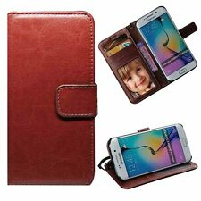 Wallet Case Cover Flip Stand For Various Mobile Phones Wristlet Brown Leather