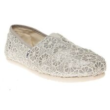 New Womens Toms Natural Metallic Crochet Glitter Textile Shoes Canvas Slip On