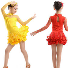 Girls Child Party paillette Latin Ballet Costume Tutu Leotard Skirt Dance Dress
