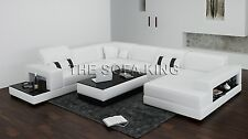 U shape sofa leather lounge couch Sectional Modular white 4 5 6 7 seat seater