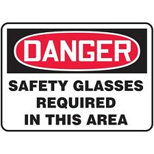 NS Signs Danger Safety Glasses Required In This Area OSHA Safety Sign