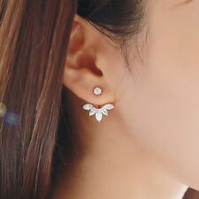 NEW Fashion  Women Lady Leaf Zircon Crystal Fashion Flower Stud Earrings 1Pair