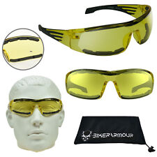 YELLOW Lens Motorcycle Glasses Safety Riding Goggles Night  Foam Padded Sports