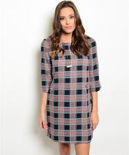 NWT Casual Navy Orange Olive Tunic Dress Plaid Elbow Length Sleeves Polyester