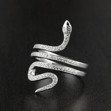 Solid 925 Sterling Silver CZ Micro Pave Setting Snake Design Ring 25mm Width