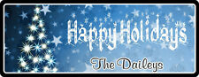 Happy Holidays Winter Blue Personalized Sign with Stars & Christmas Tree C1257