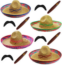 MEXICAN SOMBRERO STRAW HAT ADD MOUSTACHE CIGAR BANDIT FANCY DRESS COSTUME