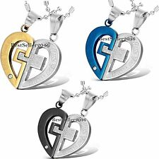 LOVE YOU REALLY Cross Heart His and Hers Couple Stainless Steel Pendant Necklace