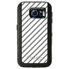 CUSTOM OtterBox Defender Case for Galaxy S5 S6 S7 Grey & White Diagonal Stripes