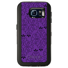 CUSTOM OtterBox Defender Case for Galaxy S5 S6 S7 Purple Black Floral Pattern