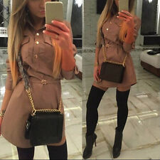 Fashion Womens Chiffon Long Sleeve Top Shirt Loose Casual Blouse Mini Dress S-XL