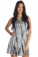 121AVENUE Lovely Printed Mini Dress S M Small Medium Women Gray Casual