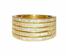 Glitzy Pave Wide 5 Row Clear AAA Cubic Zirconia Band Ring-14K Gold  Plated