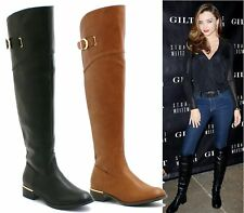 LADIES WOMENS FLAT KNEE HIGH STRETCH WIDE RIDING BOOTS LEG MID CALF WINTER SIZE