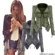 jk24 Celeb Style Motorcycle Biker Studded Fitted Padded Shoulder Denim Jacket