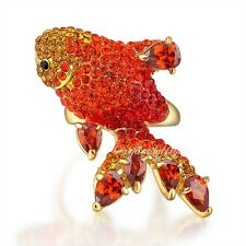 Gorgeous Ruby Red Crystal Ring Fish-Shape Animal Cocktail Women's Lady Gift R921