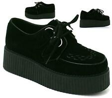 Ladies Womens Chunky Platform Wedge Brothel Creepers Lace Up Flat Shoes Boots