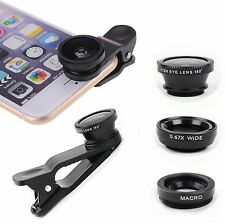 180° Clip-On Camera Lens Kits 3in1 Fisheye+Wide Angle+Macro Lens For Smartphone