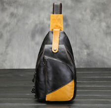 Men Leather First Layer Oil Wax Cowhide Shoulder Messenger Sling Pack Chest Bag