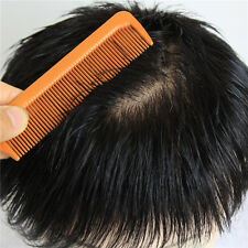Men black toupee hair replacement system loss hair cover mens top piece for men