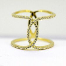 Womens 925 Sterling Silver AAA CZ Micro Pave X Criss Cross Ring Gold Plated