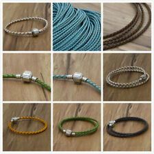 fit European charm beads 3mm Braided Genuine Leather Cord Necklace/Bracelet New