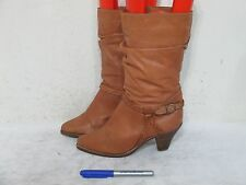 Town & Country Womans Cognac Leather Cowboy Boots Size 6.5 B