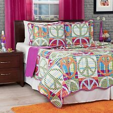 Peace Sign Quilted Blanket Coverlet Bright Colors King Size College Dorm