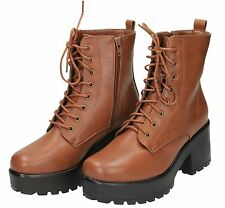 Ladies Brown Lace Up Zip Chunky Block High Heel Platform Retro Ankle Boots