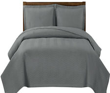 Chervon Herringbone Gray Luxury 3-PC Quilted Coverlets Set