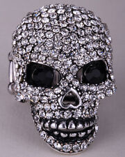 Skull stretch ring halloween gifts for women mom wife biker jewelry W crystal 5