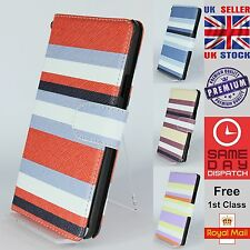 Multicolour Striped Wallet Magnetic Flip Cases Covers For Samsung Galaxy Note 4