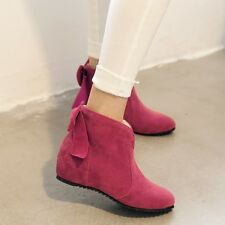 Sweet Bowknot Womens Hidden Wedge Heel Faux Suede Ladies Casual Ankle Boots Size