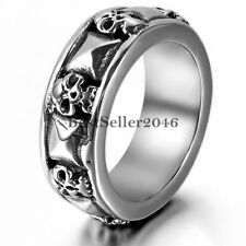 Stainless Steel Gothic Skull and Pyramid Combination Men's Band Ring Size 7-13