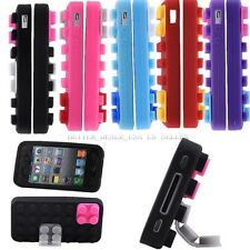 Colorful Brick/Block Rubber Silicone Skin Back Case Cover For Apple iPhone 4/4S