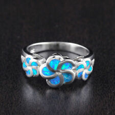 Womens Solid 925 Sterling Silver Lab Created Fire Blue Opal Ring 9mm Width