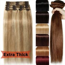 220g 10pcs Salon Deluxe Thick Virgin Remy Human Hair Clip In Real Hair Extension