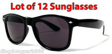 WHOLESALE LOT OF 12 BLACK CLASSIC VINTAGE RETRO WAYFARER DARK LENS SUNGLASSES