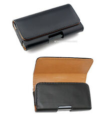Black P-Leather Horizontal Hip Case Cover Pouch + Belt Clip for LARGE Phones BIG