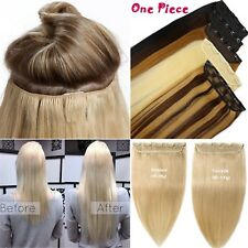 100g 5Clip On One Hairpiece Clip In Real Human Hair Extension,Black,Brown,Blonde