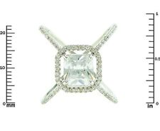 Pave Clear AAA Cubic Zirconia Princess Cut Open Halo X Ring-Rhodium Plated