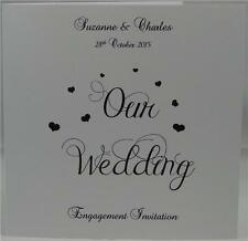 Personalised Invites Engagement White Invitations With Envelopes Hearts Design