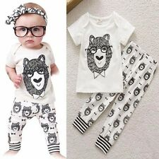 2pcs Newborn Baby Infant Boys Girls Outfits T-shirt Tops+Pants Kids Clothes Sets